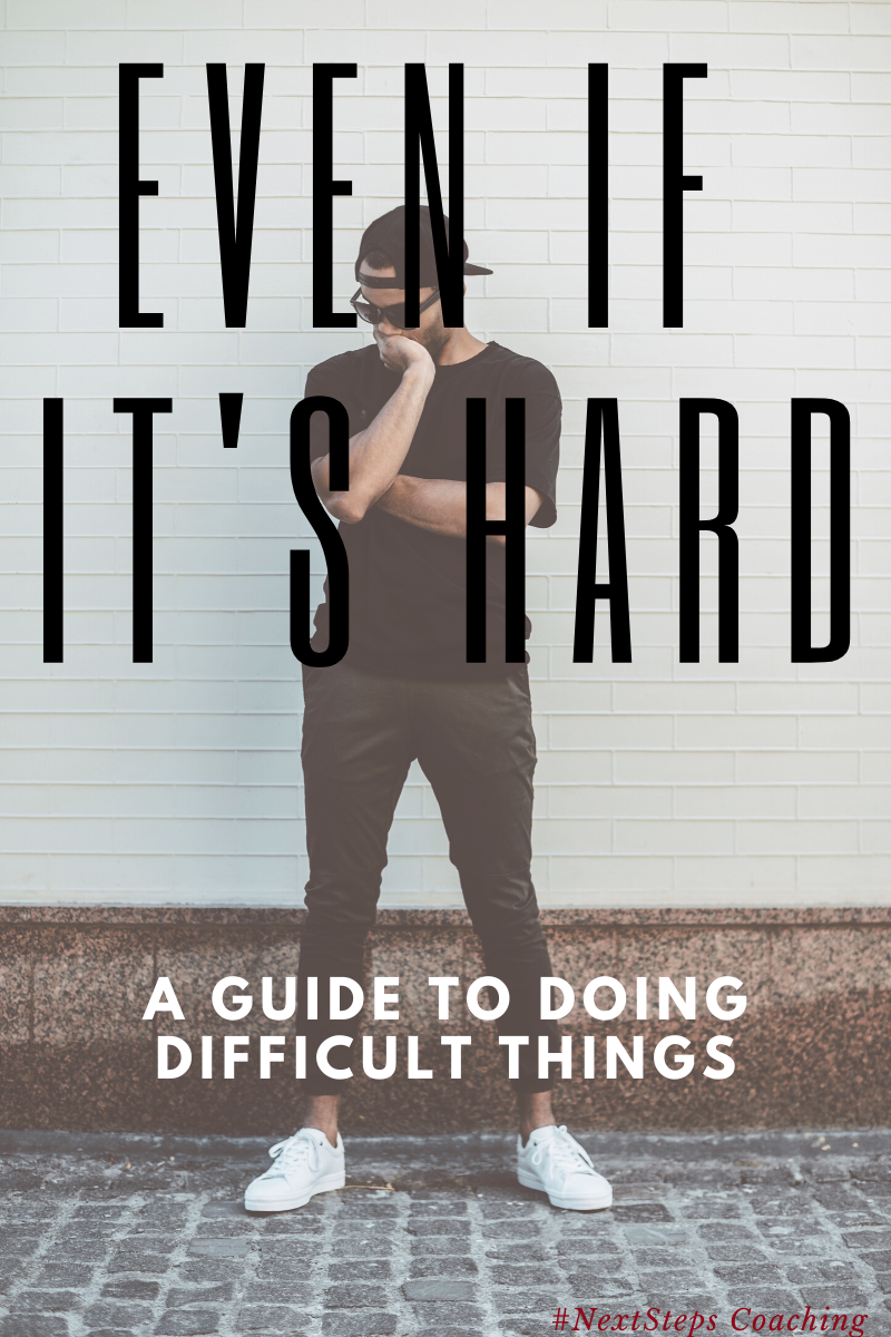"Blog Post Title, ""Even if it's hard"" and Man Contemplating"
