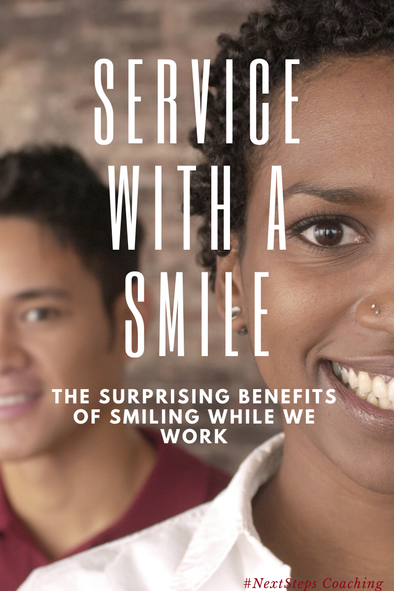 "Smiling employees with overlay text, ""Service with a smile"""