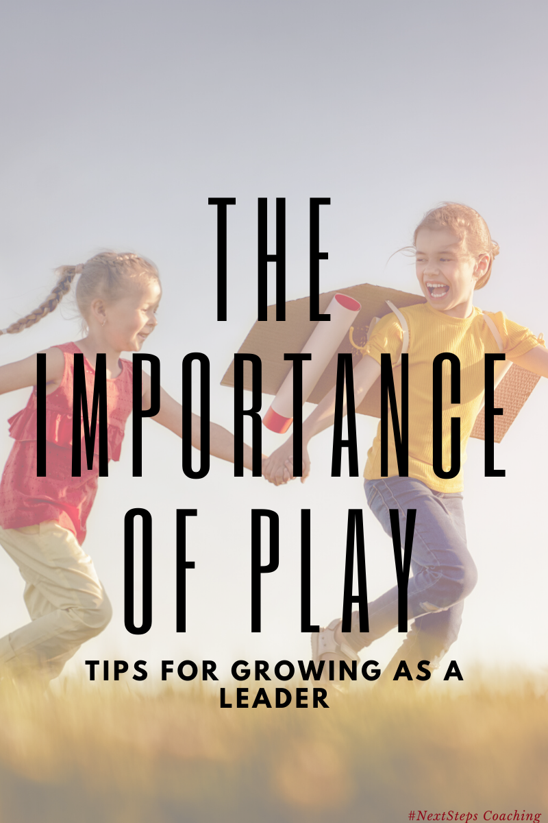 Girls running in a field with superimposed text: the importance of play