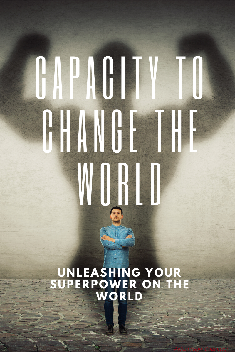 Man with muscular shadow and superimposed text: Capacity to change the world