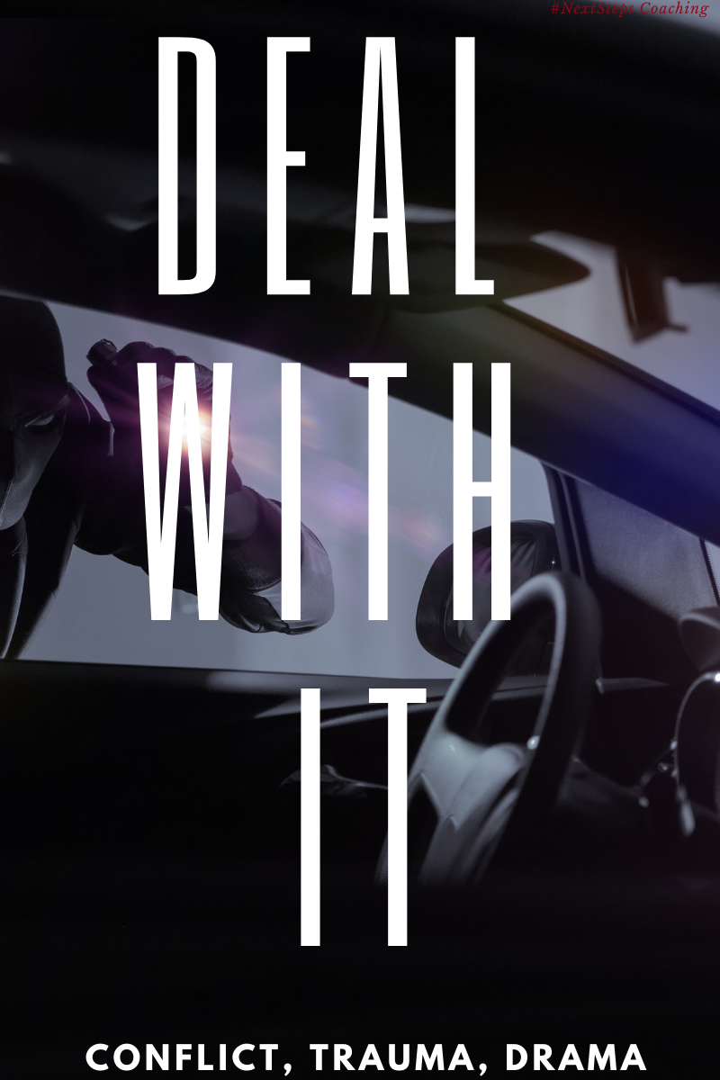 "Blog Post Cover: Car Robbery with overlay text ""deal with it"""