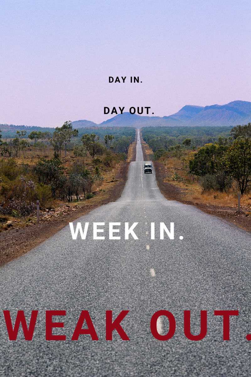 Blog Post Cover - Week in weak out text over car on road.