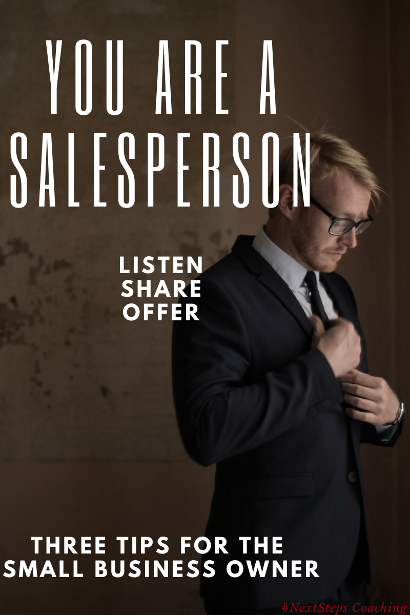 Blog Post Cover, you are a salesperson text and man in business suit