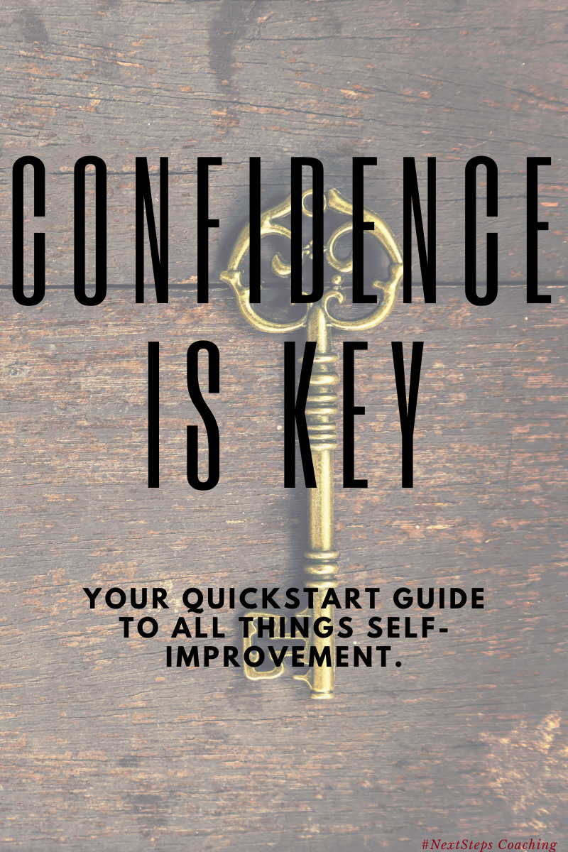 Key on desk with overlay text: confidence is key