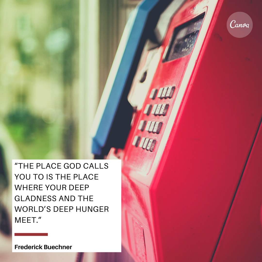 Phone booth with calling quote from Frederick Buechne