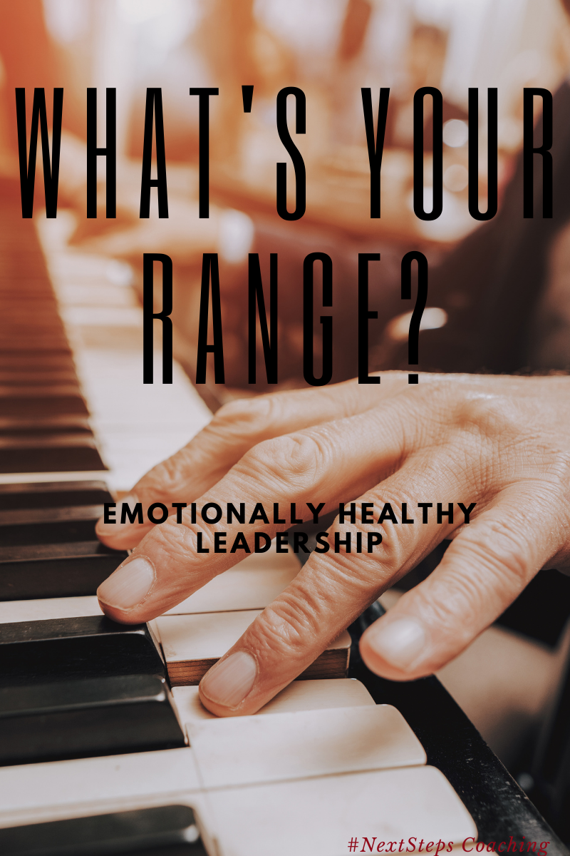 Hands Playing piano with superimposed text saying what's your range? Emotionally Healthy Leadership (Blog Post Cover Picture)