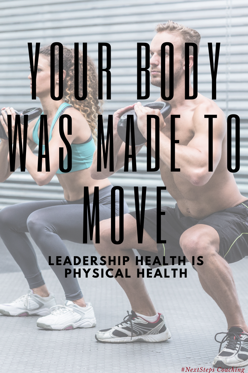 Two people exercising with kettlebells and superimposed text reading your body was made to move