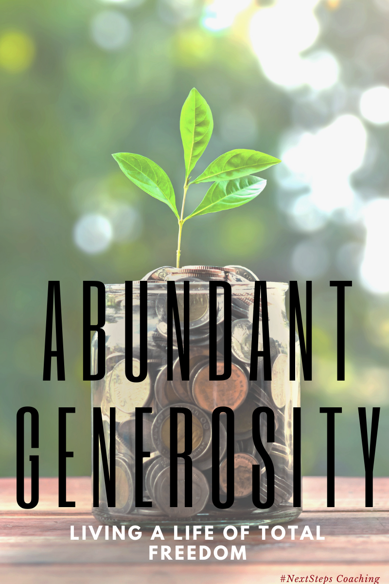 Blog post cover photo abundant generosity text over a coin jar with a plant