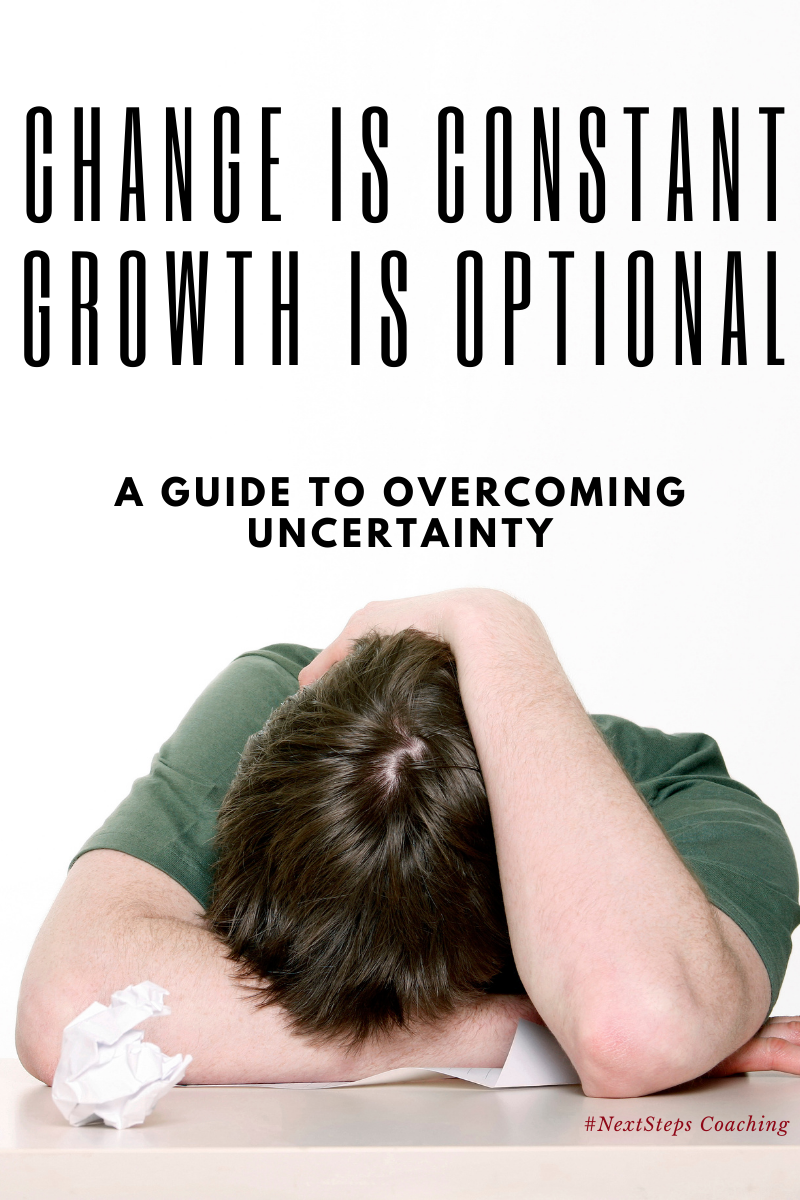 exhausted person with head on desk with overlay text change is constant growth is optional. blog post cover photo